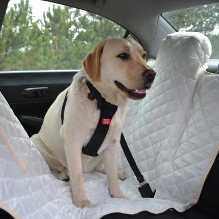 Autoschondecke, Autoschutzdecke, Hundedecke, mit Reißverschluß teilbar, 180 x 140 cm, Creme
