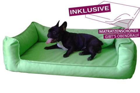 Orthopädisches Hundebett GOOFY VISCO<br> | >>> inkl. Matratzenschoner <<< | M+ 90 cm Polyester 600D Hellgrün M | Hellgrün