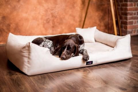 Hundebett MORITZ KOMFORT XL+ 130 cm | fest gewebtes Polyester | Creme XL+ | Creme