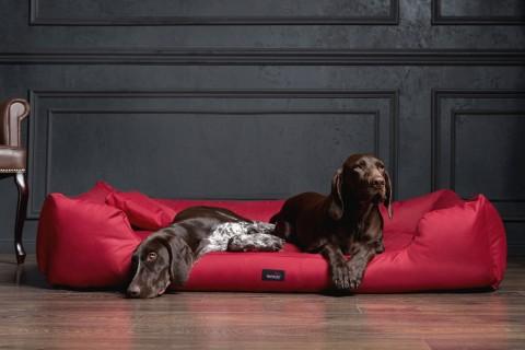 Hundebett MORITZ KOMFORT XL+ 130 cm | samtweiches Velours | Bordeaux-Rot XL | Bordeaux-Rot