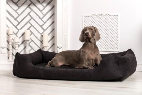 Hundebett MORITZ KOMFORT M+ 90 cm | fest gewebtes Polyester | Schwarz M | Schwarz