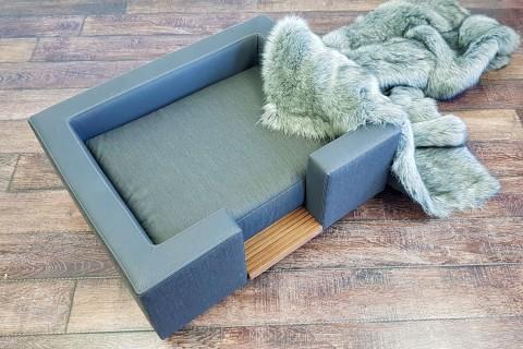 EINZELSTÜCK | Orthopädisches Luxus-Hundesofa SOPHIA ORTHO PLUS 80 cm Kunstleder und Webstoff Anthrazit