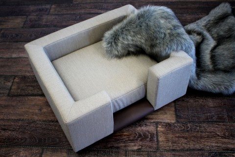 EINZELSTÜCK | Orthopädisches Luxus-Hundesofa SOPHIA ORTHO PLUS 65 cm Webstoff Beige