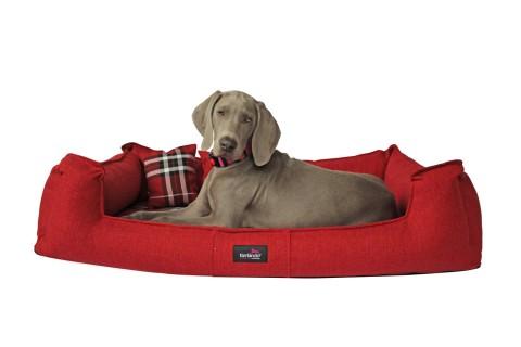 Orthopädisches Hundebett SCOTCH VISCO XL+ 130 cm 2-in-1-Bezug Webstoff Mélange Dunkelrot Schwarz kariert XL | Rot Schwarz