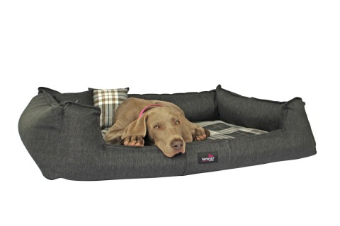 Orthopädisches Hundebett SCOTCH VISCO XL+ 130 cm 2-in-1-Bezug Webstoff Mélange Anthrazit Grau kariert XL | Anthrazit Grau