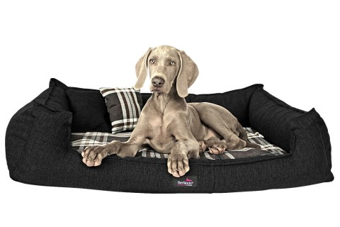 Orthopädisches Hundebett SCOTCH VISCO XL+ 130 cm 2-in-1-Bezug Webstoff Mélange Schwarz Braun kariert XL | Schwarz Braun