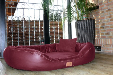 Orthopädisches Hundebett LENNART VISCO PLUS M 85 cm Kunstleder Velours Bordeaux-Rot M | Bordeaux-Rot