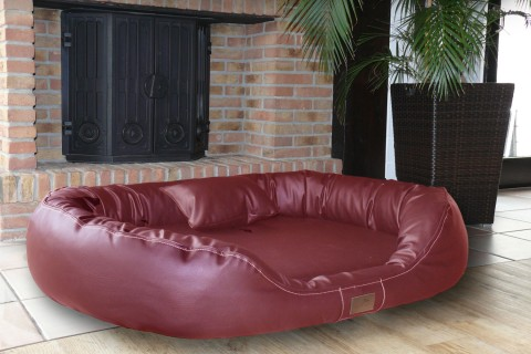 Orthopädisches Hundebett LENNART VISCO PLUS M 85 cm Kunstleder Bordeaux-Rot M | Bordeaux-Rot