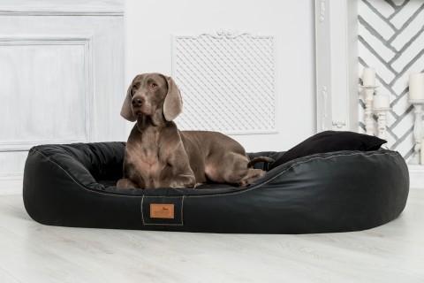 Orthopädisches Hundebett LENNART VISCO PLUS M 85 cm Kunstleder Schwarz M | Schwarz