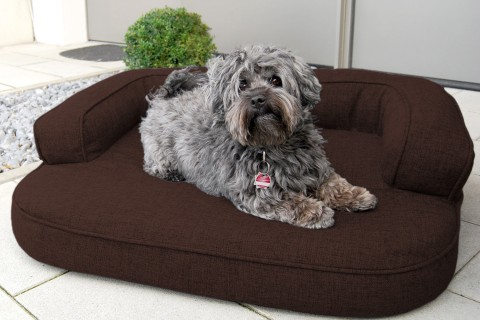 Orthopädisches Hundesofa LOTTE VISCO PLUS L 100 cm Webstoff Mélange Dunkelbraun L | Dunkelbraun