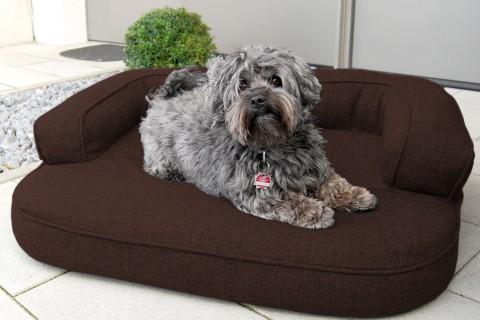 Orthopädisches Hundesofa LOTTE VISCO PLUS M 80 cm Webstoff Mélange Dunkelbraun M | Dunkelbraun