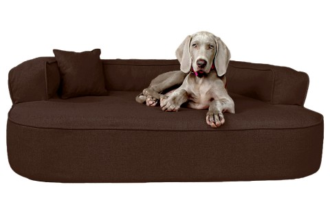 Orthopädisches Hundesofa LOTTE VISCO PLUS XL 120 cm Webstoff Mélange Dunkelbraun XL | Braun