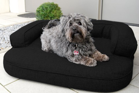 Orthopädisches Hundesofa LOTTE VISCO PLUS M 80 cm Webstoff Mélange Schwarz M | Schwarz