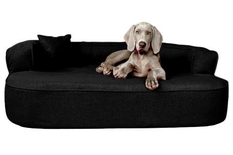 Orthopädisches Hundesofa LOTTE VISCO PLUS XL 120 cm Webstoff Mélange Schwarz XL | Schwarz