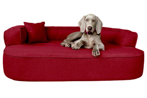 Orthopädisches Hundesofa LOTTE VISCO PLUS XL 120 cm Webstoff Mélange Bordeaux Rot XL | Bordeaux-Rot