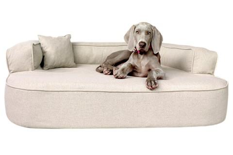 Orthopädisches Hundesofa LOTTE VISCO PLUS XL 120 cm Webstoff Mélange Creme Beige XL | Beige-Creme