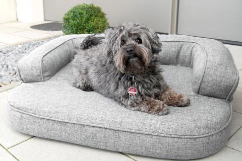 Orthopädisches Hundesofa LOTTE VISCO PLUS M 80 cm Webstoff Mélange Grau M | Grau