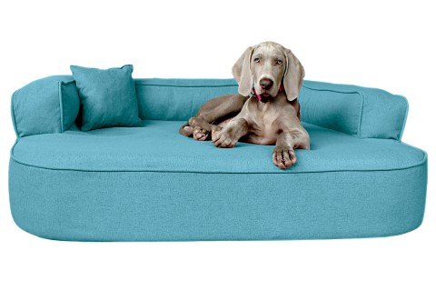 Orthopädisches Hundesofa LOTTE VISCO PLUS XL 120 cm Webstoff Mélange Türkis Blau
