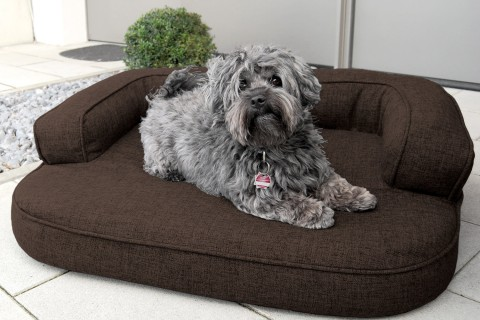 Orthopädisches Hundesofa LOTTE VISCO PLUS M 80 cm Webstoff Mélange Braun M | Braun