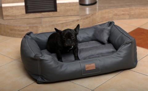 Hundebett MADDOX M 80 cm Kunstleder-Velours Graphit M | Graphit