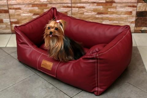Hundebett MADDOX S 70 cm Kunstleder Bordeaux-Rot S | Bordeaux-Rot