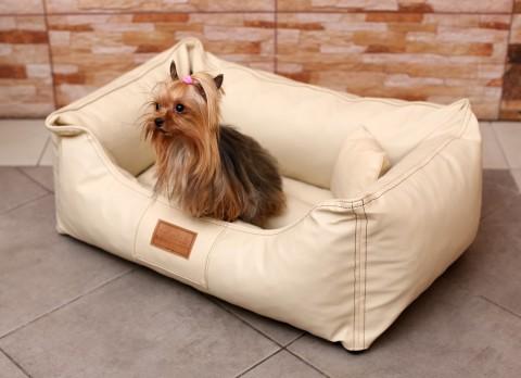 Hundebett MADDOX S 70 cm Kunstleder Creme S | Creme
