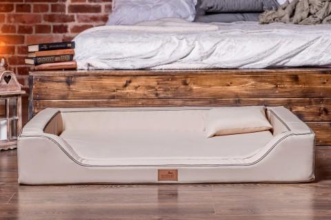 Orthopädisches Hundebett MELODY LATEX-Matratzenkern XL 120 cm Kunstleder Beige