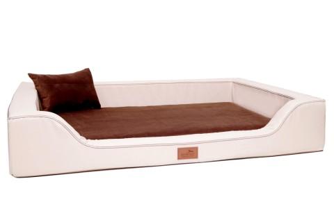 Orthopädisches Hundebett MELODY LATEX-Matratzenkern XXL 150 cm Kunstleder und High-Tech-Velours Creme Braun XXL | Creme Braun