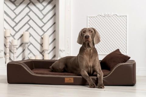 Orthopädisches Hundebett MELODY LATEX-Matratzenkern Kunstleder und High-Tech-Velours