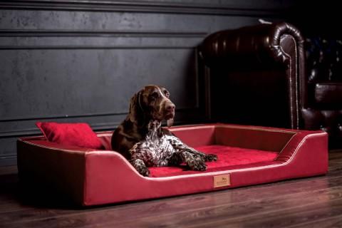Orthopädisches Hundebett MELODY LATEX-Matratzenkern M 85 cm Kunstleder und High-Tech-Velours Himbeer-Rot