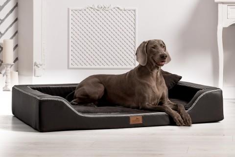 Orthopädisches Hundebett MELODY LATEX-Matratzenkern XL 120 cm Kunstleder und High-Tech-Velours Schwarz XL | Schwarz
