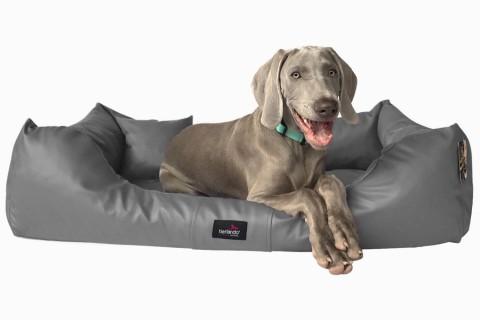 Hundebett MILEN L+ 110 cm komplett Kunstleder Graphit