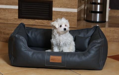 Orthopädisches Hundebett MADDOX VISCO M 80 cm Kunstleder-Velours Graphit
