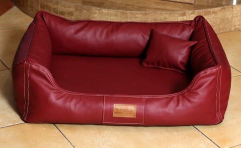 Orthopädisches Hundebett MADDOX VISCO M 80 cm Kunstleder Bordeaux-Rot