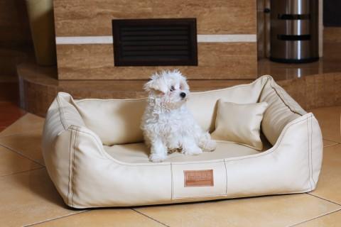 Orthopädisches Hundebett MADDOX VISCO M 80 cm Kunstleder-Velours Creme M | Creme