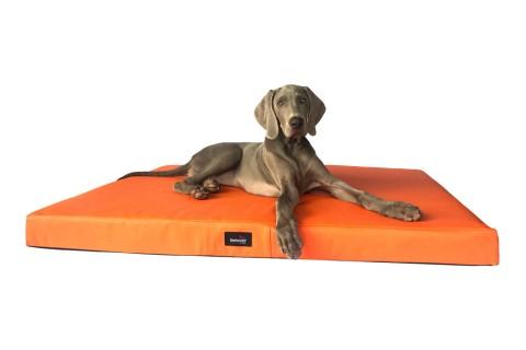 Orthopädische Hundematratze ALICE VISCO XL 120 cm Kunstleder Orange