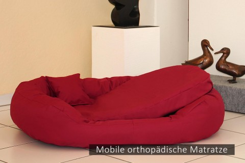 Orthopädisches Hundebett ARES VISCO XL+ 125 cm Polyester 600D Bordeaux-Rot XL+ | Bordeaux-Rot