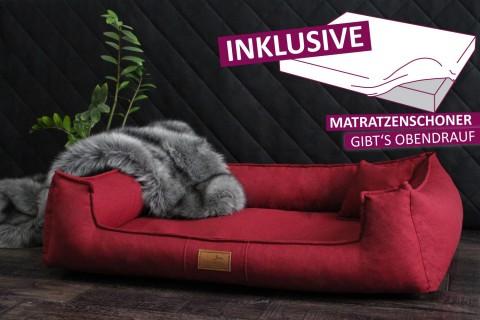 Orthopädisches Hundebett GOOFY Couture >>> inkl. Matratzenschoner <<< M+ 90 cm Bordeaux M   Bordeaux