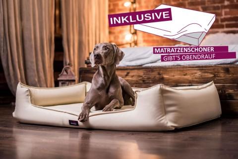 Orthopädisches Hundebett GOOFY VISCO KUNSTLEDER | >>> inkl. Matratzenschoner <<< | ANTI-HAAR
