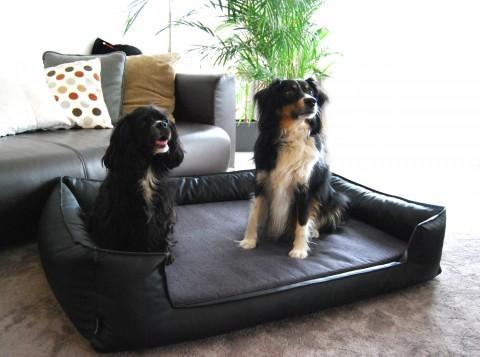 Orthopädisches Hundebett LINUS VISCO PLUS M+ 90 cm Kunstleder Polyester Schwarz M | Schwarz