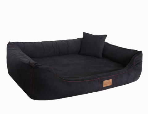 Orthopädisches Hundebett MADDOX VISCO Red Line 2 Limited Edition XL 120 cm Soft Velours Schwarz XL | Schwarz Red Line 2