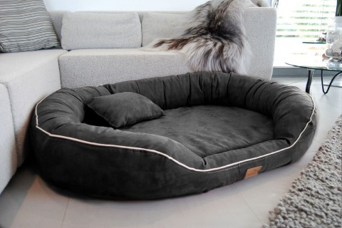 Orthopädisches Hundebett MARLON VISCO PLUS XXXXL 220 cm Velours Graphit