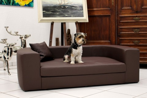 Orthopädisches Hundesofa LUDWIG Kunstleder-Velours