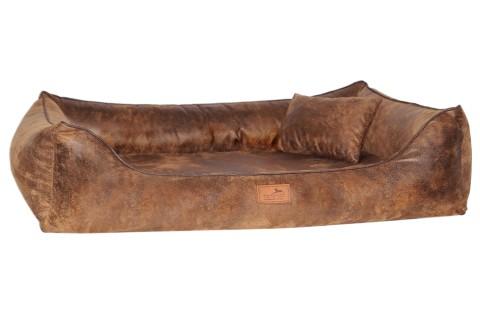 Orthopädisches Hundebett ALBERTO Vintage Velours L 100 cm Hellbraun