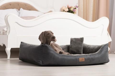 Ultraweiches orthopädisches Hundebett FLOYD High-Tech Velours / Plüsch L 100 cm  Graphit