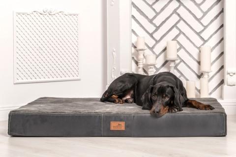 Orthopädische Hundematratze STUART ORTHO PLUS  High-Tech Velours / Plüsch M 80 cm Graphit