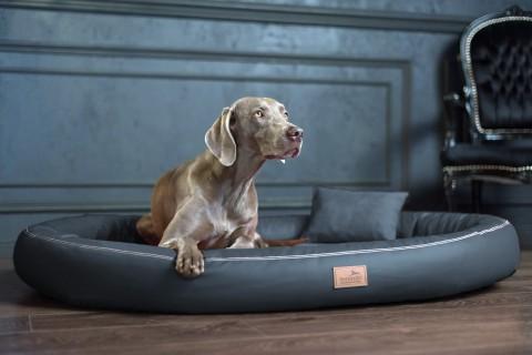 Weiche orthopädische Premium-Hundematratze GILBERT<br>Anti-Haar M 85 cm Kunstleder | 02 Graphit M | Graphit