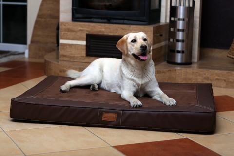 Orthopädische Hundematratze OSCAR VISCO XL 120 cm Velours Kunstleder Braun