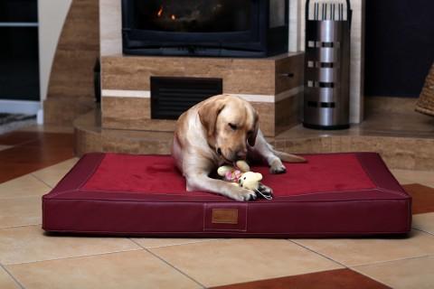 Orthopädische Hundematratze OSCAR VISCO XL 120 cm Velours Kunstleder Bordeaux XL | Bordeaux