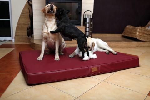 Orthopädische Hundematratze OSCAR VISCO XXL 150 cm Kunstleder Bordeaux-Rot XXL | Bordeaux-Rot